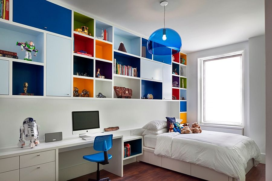 Boys' bedroom with multi-colored shelves and FLY Suspension Light in Blue [Design: Redtop Architects]