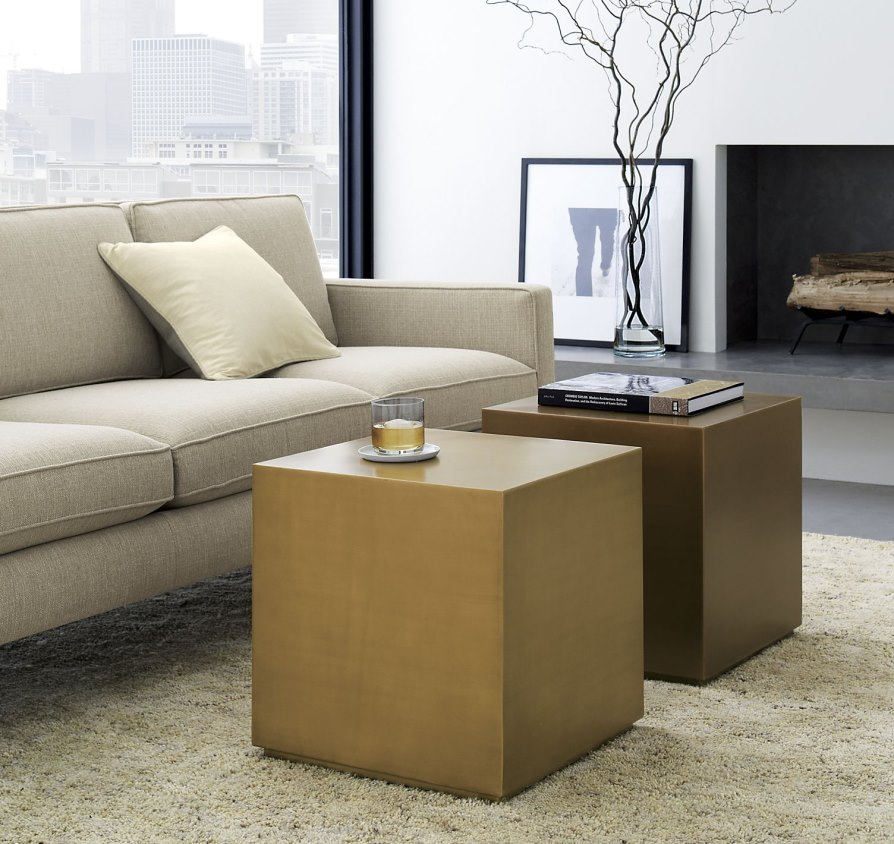 view in gallery brass cubes from crate barrel - Crate And Barrel End Tables