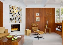Brick and wooden walls shapes a lovely living room with midcentury flair 217x155 Mid Century Dwelling Turned into First LEED Certified Home in Carmel