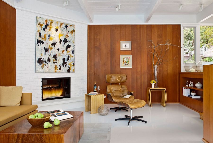 Brick and wooden walls shapes a lovely living room with midcentury flair