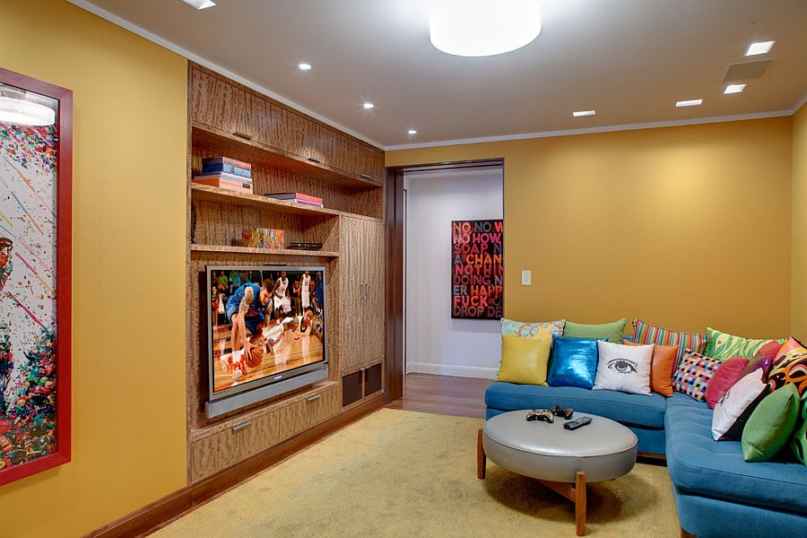 apartment living room with tv.  Bright L Shaped Couch In Blue With Colorful Accent Pillows For The TV Room 20 Small Rooms That Balance Style Functionality