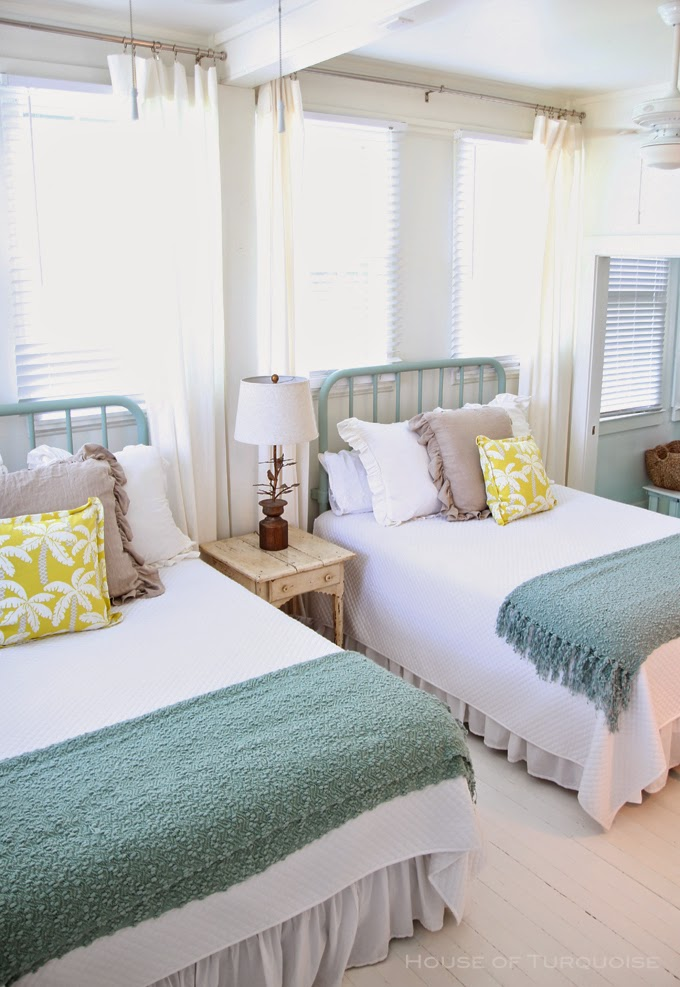 Nice View In Gallery Bright And Beach Themed Twin Beds In A Guest Room