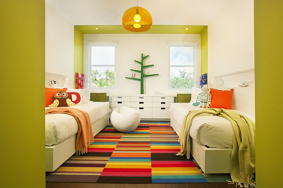 ... Bright And Beautiful Carpet With Multi Colored Charm [Design: DKOR  Interiors]