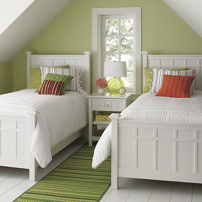 View in gallery Bright green guest room featuring Brighton white bedding  from Crate&Barrel