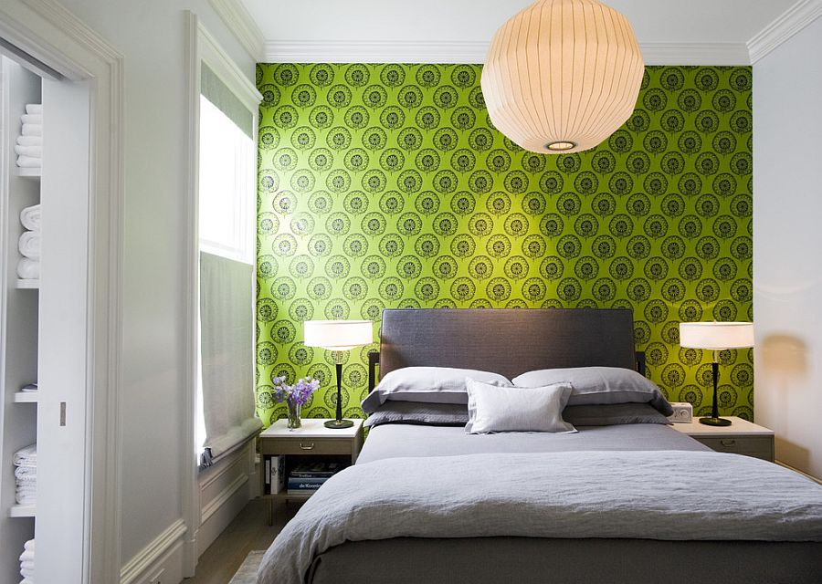 Bright wallpaper from Cole & Sons coupled with hints of gray in the bedroom [Design: Todd Davis Architecture]