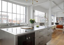 Brilliant and ergonomic kitchen island with cabinets in stainless steel