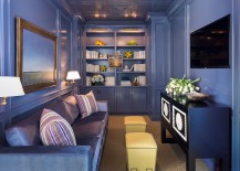 Brilliant monochromatic TV room in purple