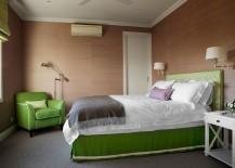 Browns meet green elegance in this exquisite bedroom