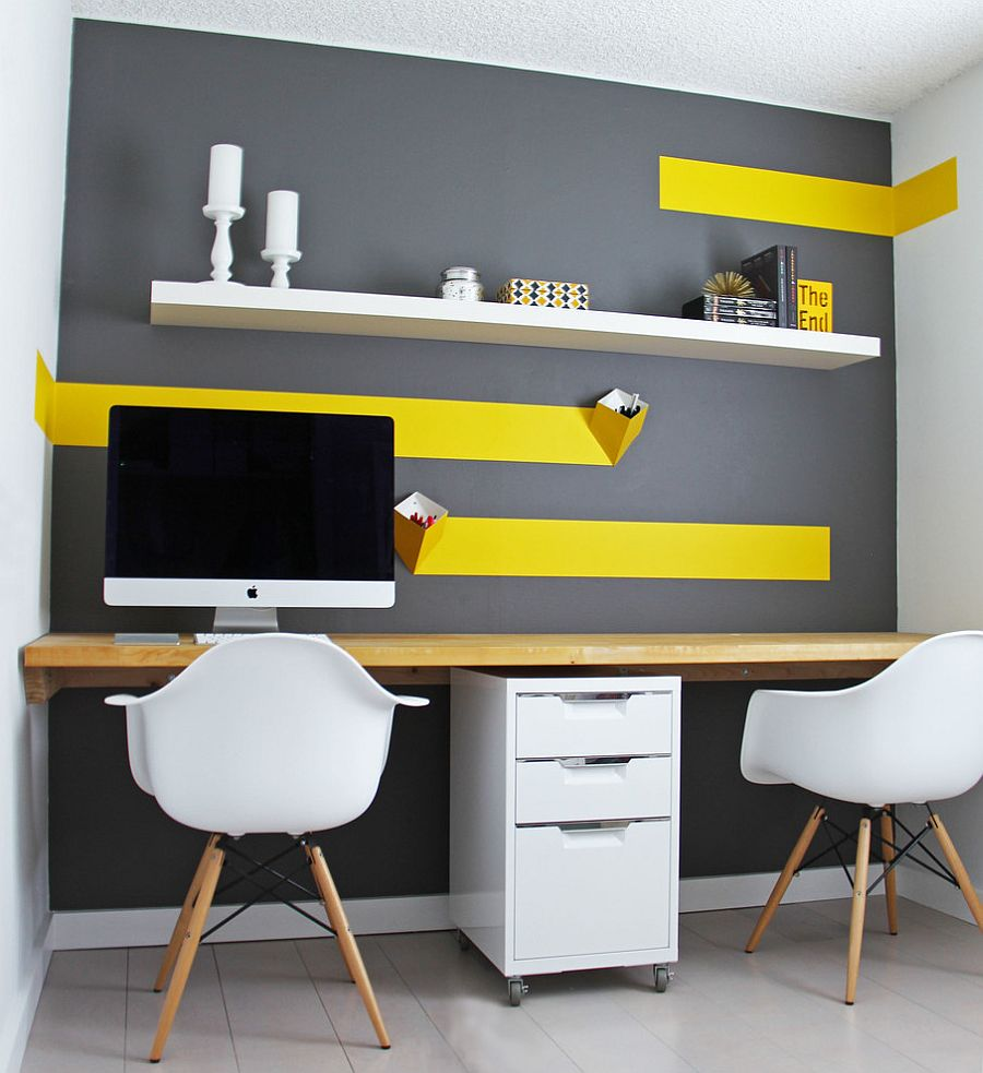Budget home office design with white IKEA floating shelf [Design: K&L Interiors]
