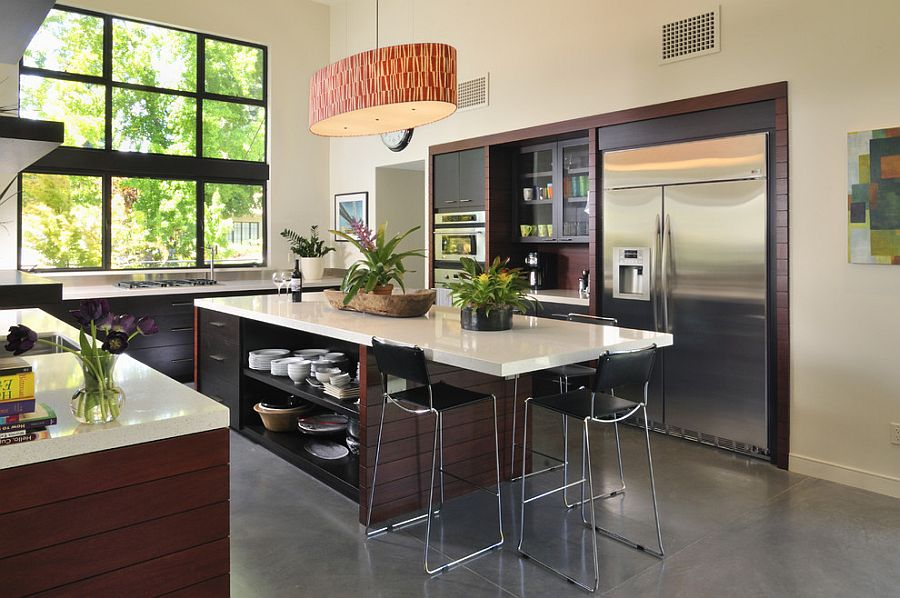 Trendy display 50 kitchen islands with open shelving for Cuisine 15m2 ilot centrale