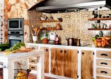 Captivating tiled backsplash steals the show in this kitchen