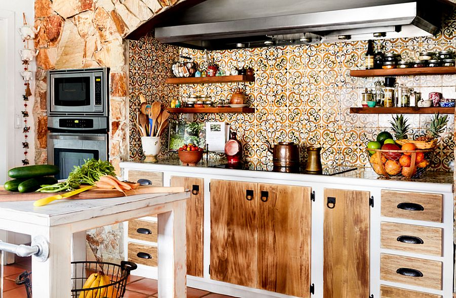 Captivating tiled backsplash steals the show in this kitchen