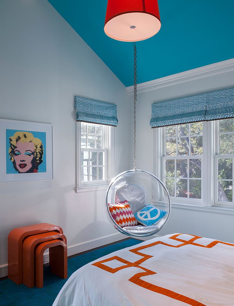 Ceiling and blinds in light blue for the chic teen bedroom [Design: Markay Johnson Construction]
