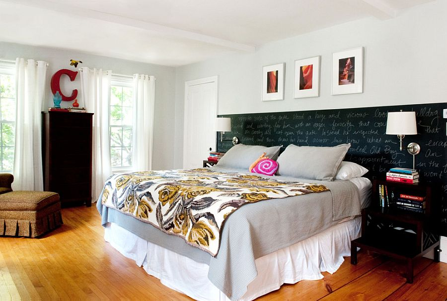 Chalkboard paint creates an eclectic accent addition inside the bedroom