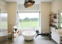 Charming rustic-modern bathroom with a round tub