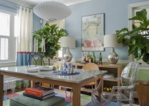Cheery dining room with a stainless steel table