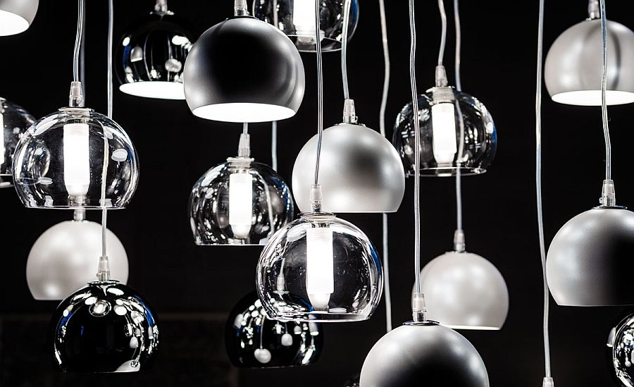 Chromed steel and glass pendant lights from Cattelan Italia