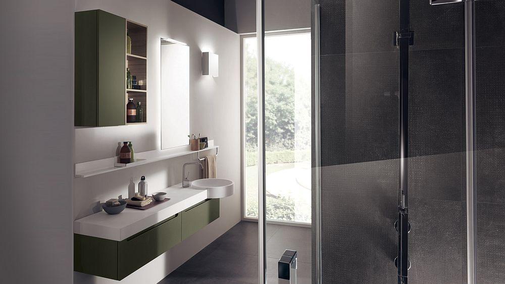 Classy bathroom design in lichen green for small spaces