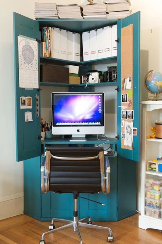 Clever idea for a desk with storage from an old armoire