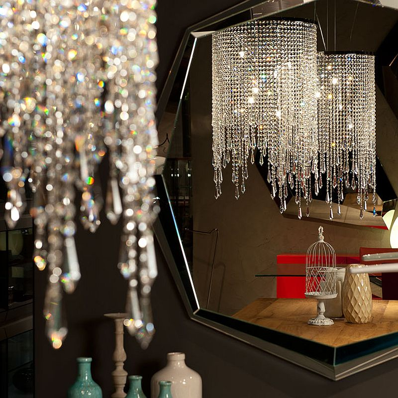 Closer look at glittering pendant light from Cattelan Italia