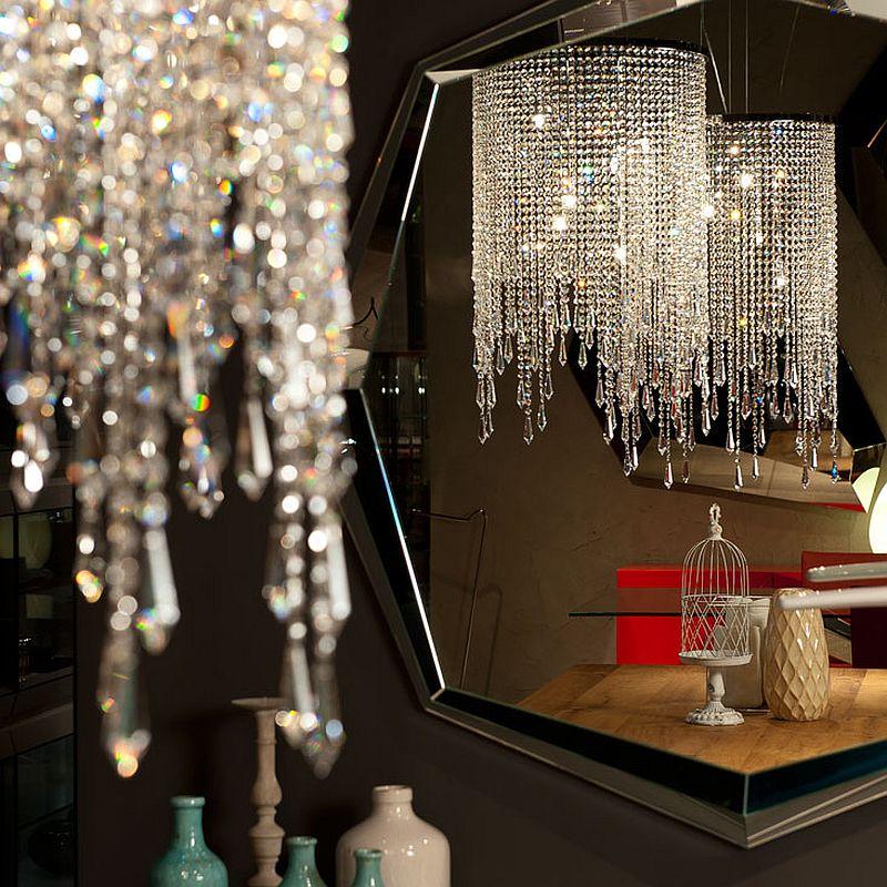 Closer look at glittering pendant light from Cattelan Italia