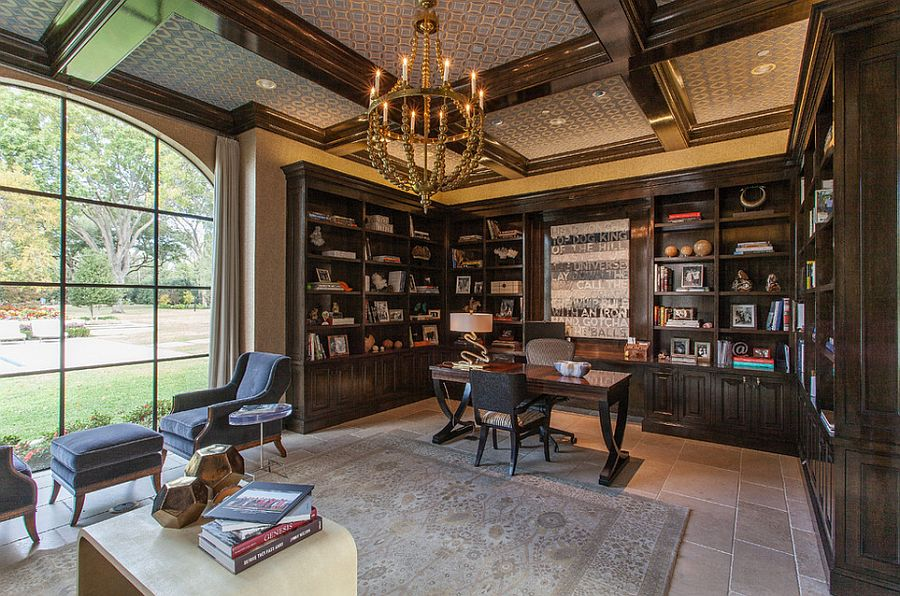 Coffered ceiling and lovely chandelier give the home office a refined look [Design: Phillip Jennings Custom Homes]