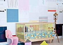 Colorful and creative nursery idea 217x155 Comfy Sophistication: 25 Gorgeous Scandinavian Style Nursery Ideas