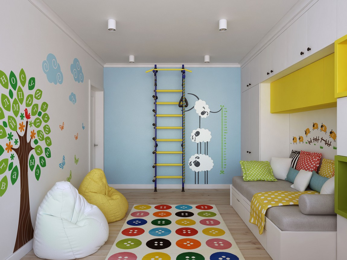 Colorful kids' room with vinyl wall decals