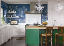 Colorful-kitchen-island-with-buther-block-top-wallpapered-wall-and-marble-backsplash-come-together-in-this-kitchen-217x155