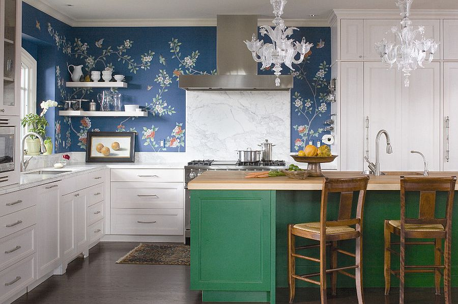 Colorful kitchen island with buther block top wallpapered wall and marble backsplash come together in this kitchen 50 Trendy Eclectic Kitchens That Serve Up Personalized Style