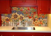 Colorful mosaic backsplash featuring flowers
