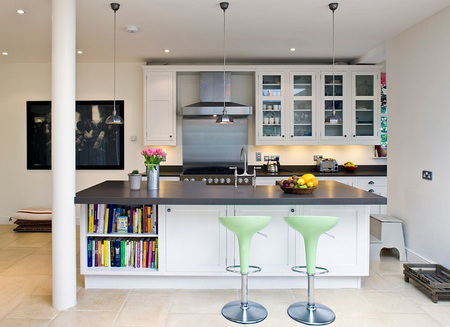 Combine open shelves with closed cabinets for a smashing kitchen island [Design: Abode Architects]