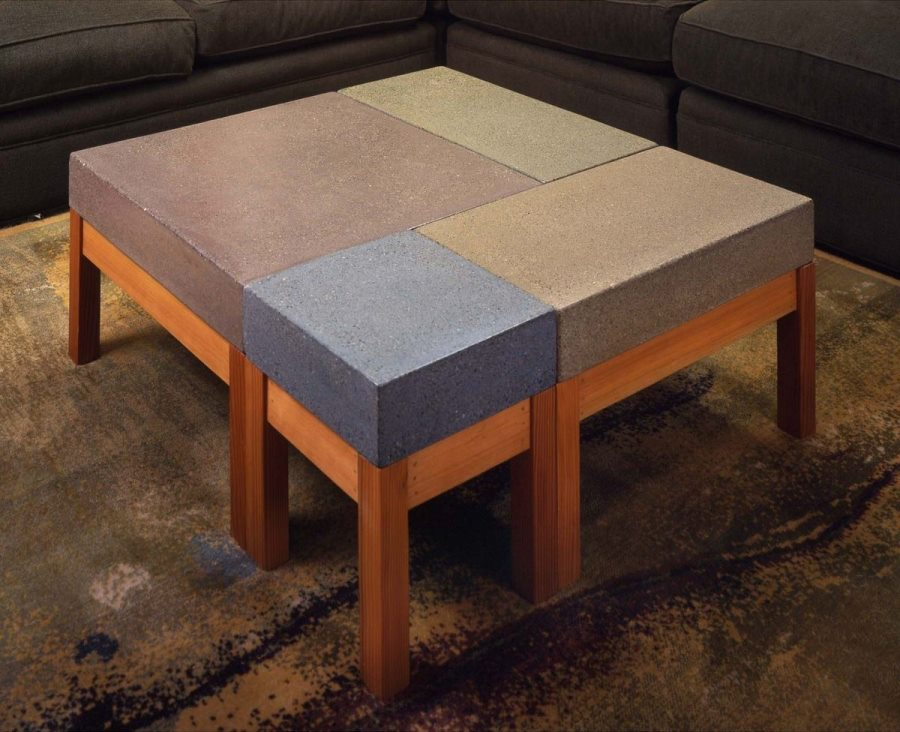 Concrete modular coffee table from Custom Made