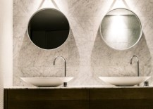 Contemporary bathroom with a pair of round mirrors