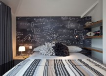 Contemporary bedroom with chalkboard accent wall
