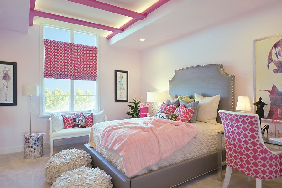 Contemporary girls' bedroom with a splattering of pink [From: Gormans]