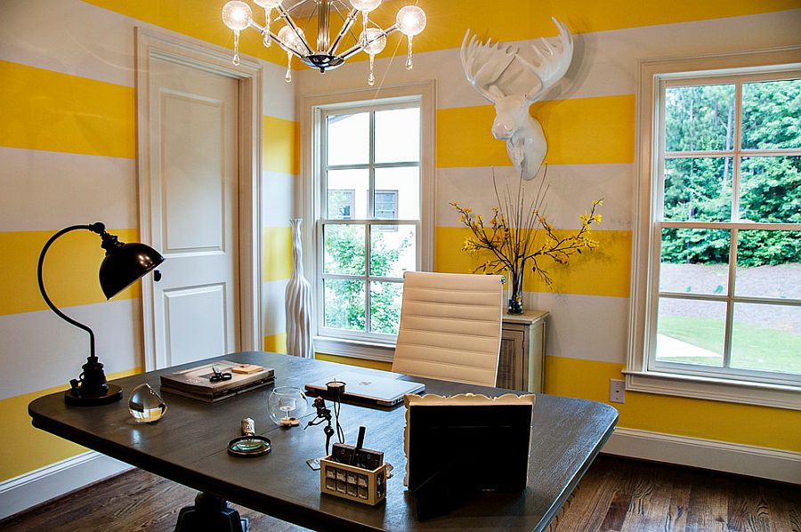 Contemporary home office with white and yellow striped walls [Design: 2 Gays & a Design]