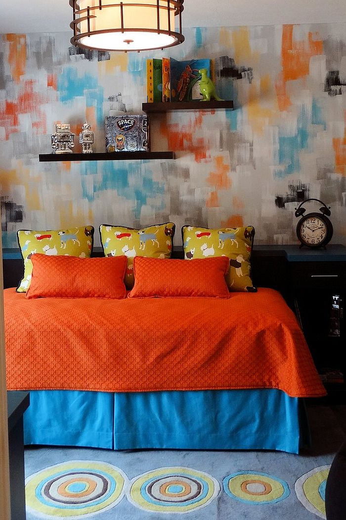 Contemporary kids' room in orange and blue [Design: Charley's Loft Drapery and Design]