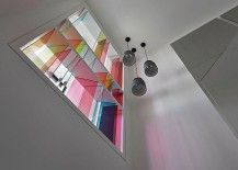Contemporary reinterpretation of classic church windows with loads of color