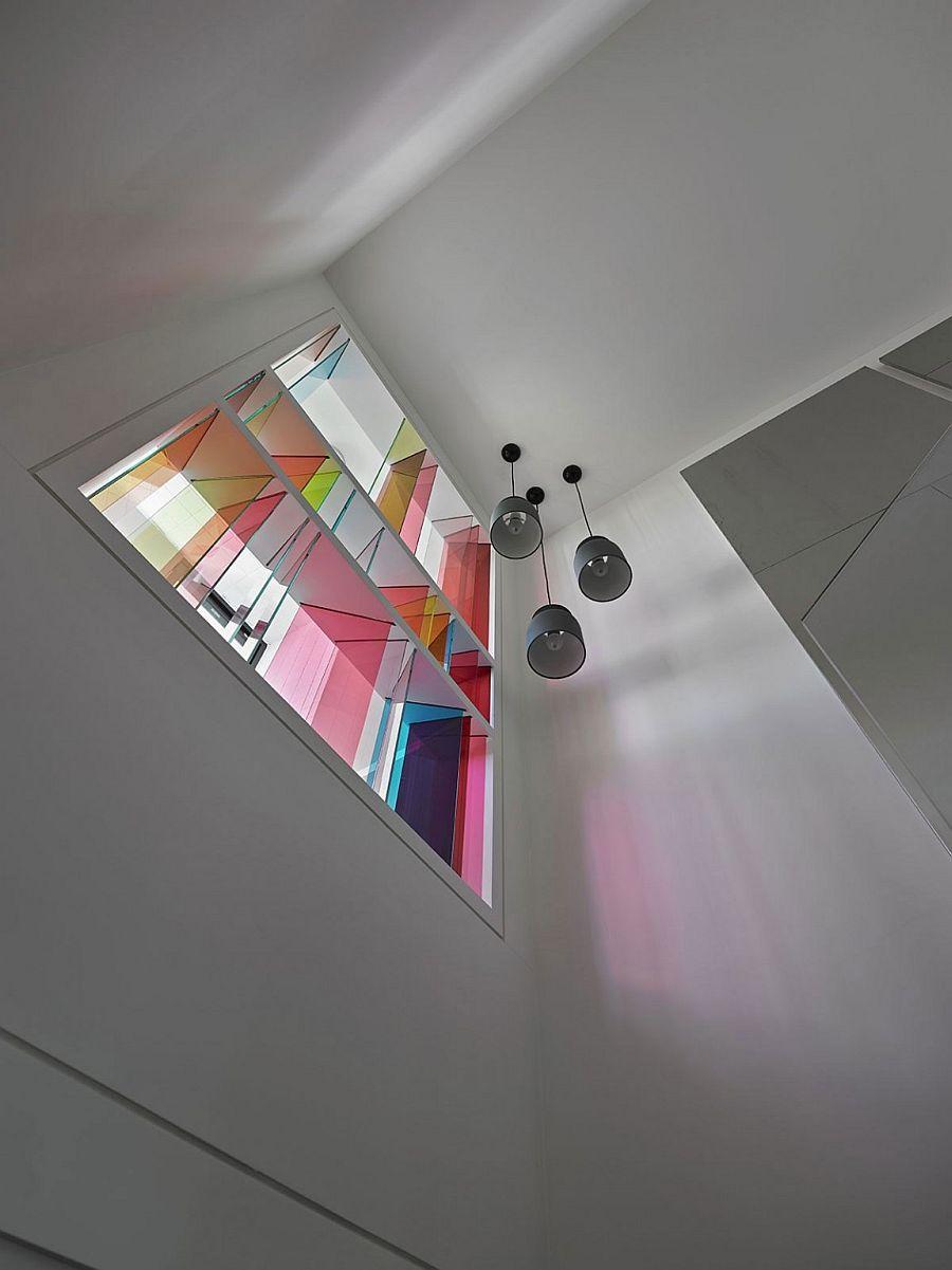 Contemporary reinterpretation of classic church windows with loads of color