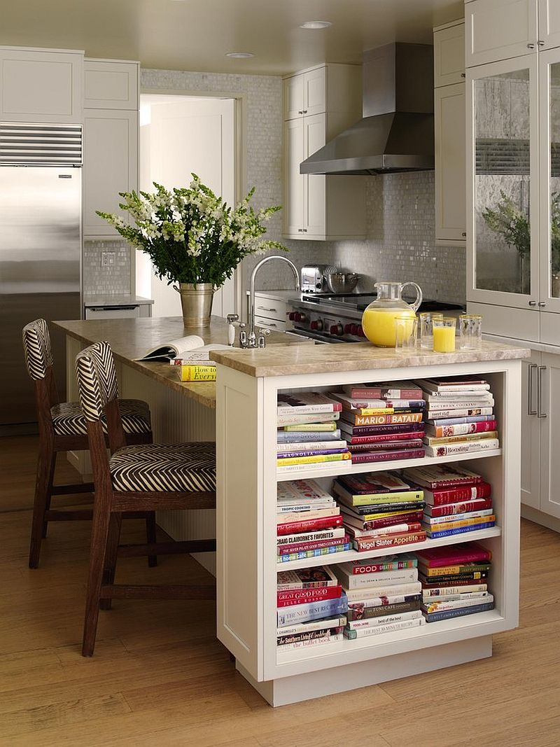 ... Convenient placement of the open shelves in the kitchen [Design: Tara  Seawright]