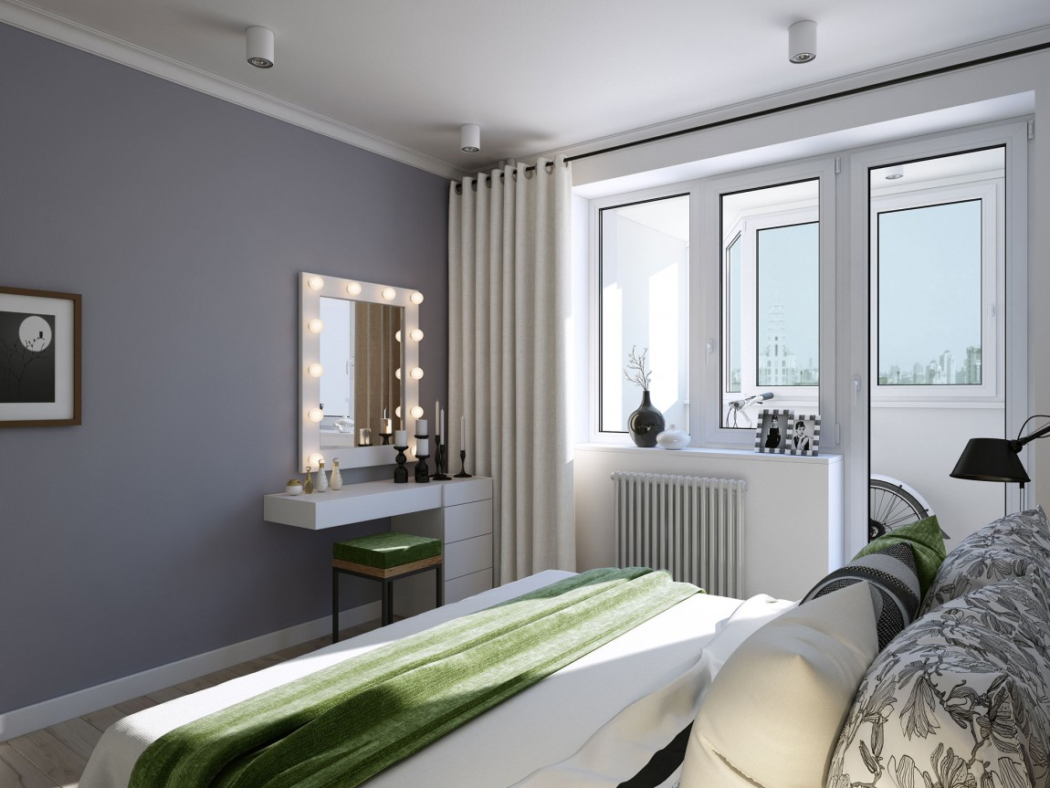 Cool bedroom in gray and white with green accents thanks to bedding