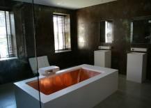 Copper tub in a high-end bathroom