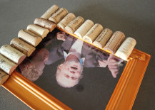 Cork Pic Frame DIY Glueing Corks with Hot Glue
