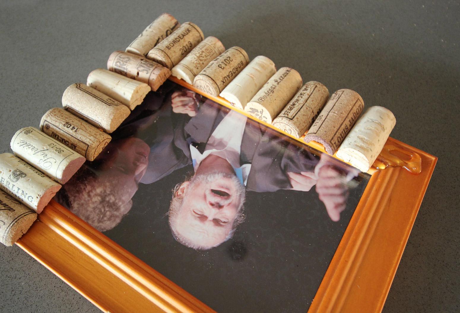 Cork Pic Frame DIY Glueing Corks with Hot Glue