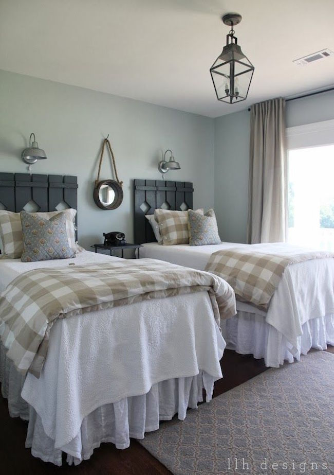 Charming View In Gallery Country Guest Room With Rustic Wood Head Boards On Twin Beds