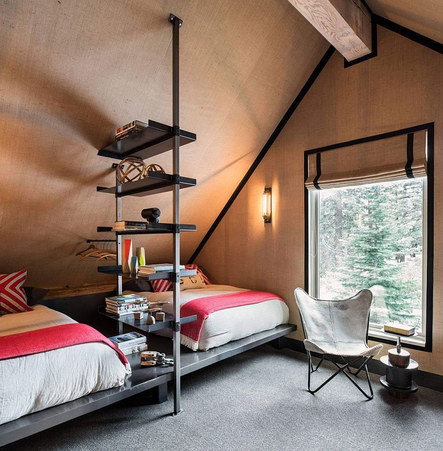 Cozy burlap bedroom with twin beds and lovely mountain views