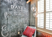 Cozy reading nook in the bedroom with a chalkboard wall