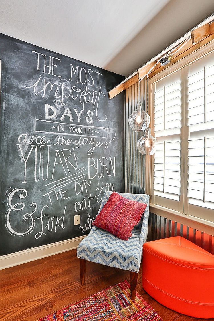 35 bedrooms that revel in the beauty of chalkboard paint. Black Bedroom Furniture Sets. Home Design Ideas