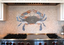 Crab design in mosaic backsplash 217x155 18 Gleaming Mosaic Kitchen Backsplash Designs